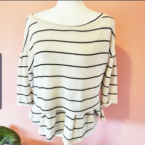 Anthropologie Postmark Ivory Stripe Layer Sweater